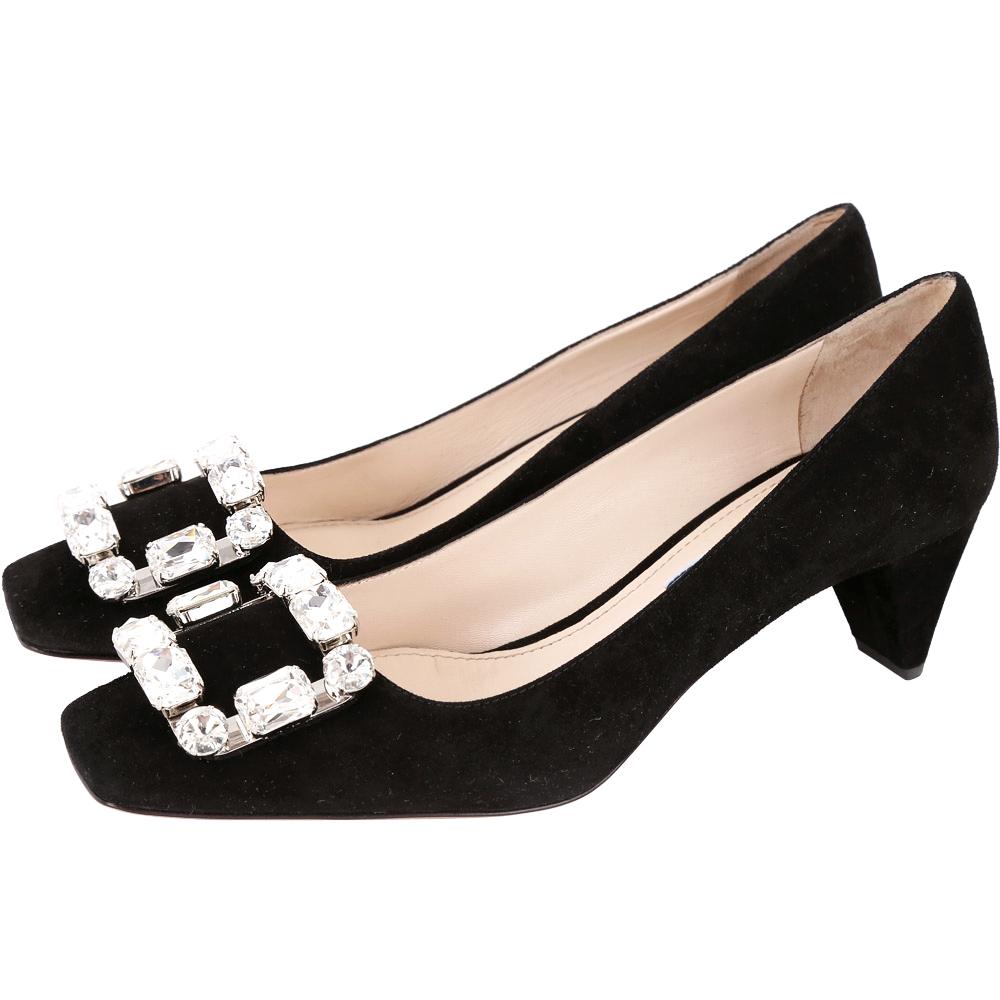PRADA黑色麂皮方框鑽飾粗跟鞋