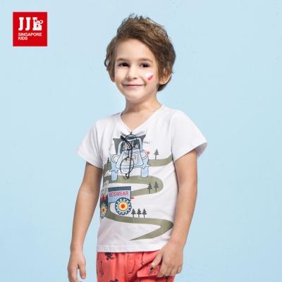 JJLKIDS  小汽車的探險旅行休閒T恤(白色)