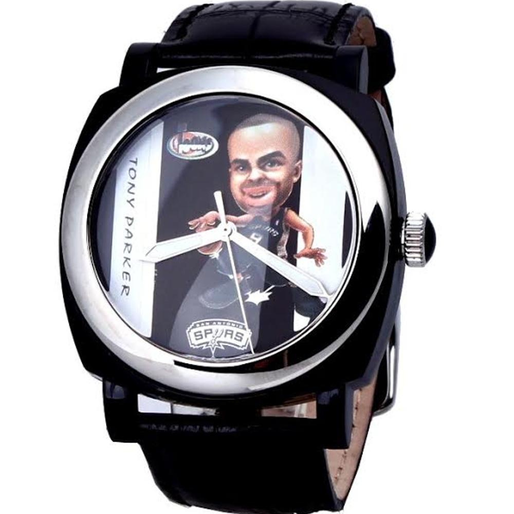 NBA 美國職籃 Tony Parker 聖安東尼奧馬刺隊球星腕錶-黑/45mm
