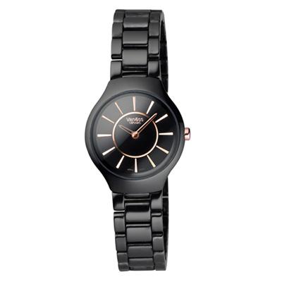 Vaness 喝采時刻陶瓷時尚腕錶-黑/25mm