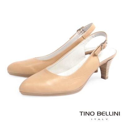 Tino Bellini 西班牙進口舒足真皮OL跟鞋 (6.5cm後拉帶款)_膚