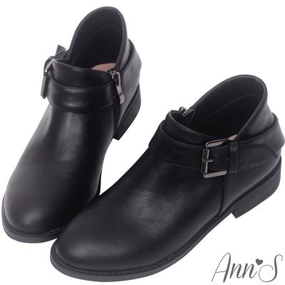 Ann'S實穿款-V弧型單扣帶平底短靴-黑