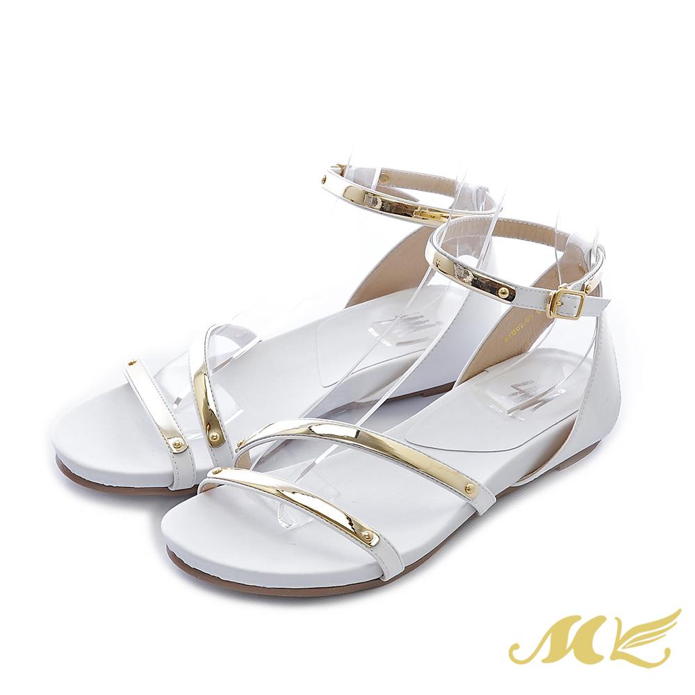 MK-台灣手作-斜口修飾金屬繞踝低跟楔型涼鞋-白色