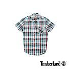 Timberland 男款紅藍格紋Coolmax棉麻混紡短袖襯衫