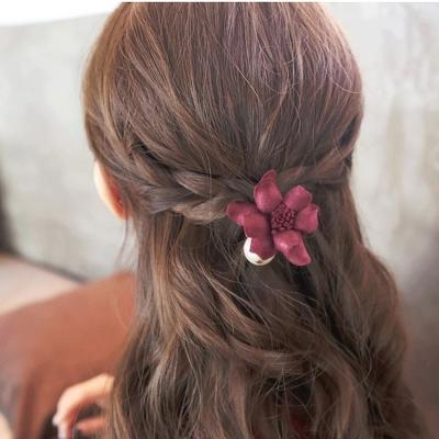 梨花HaNA-韓國仿真花珍珠點綴髮圈