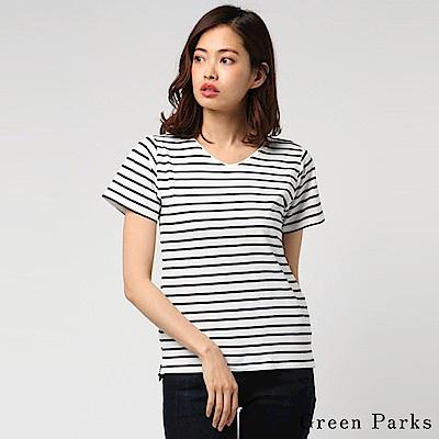 Green Parks 橫條紋V領短袖T恤