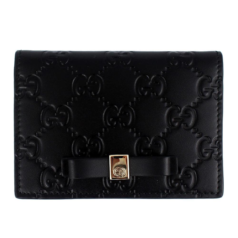 GUCCI Guccissima 黑色厚質皮革壓紋蝴蝶結卡片/證件夾