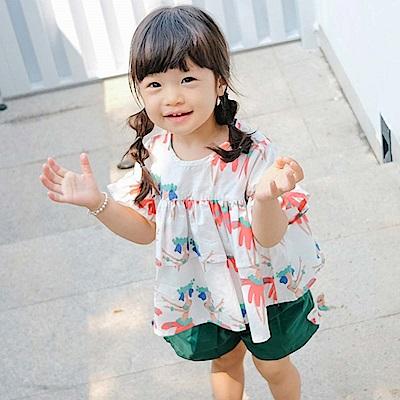 Baby unicorn 白綠印花荷葉短袖套裝2件組