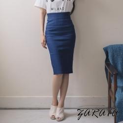 長裙-純色高腰修身牛仔中長裙(藍色