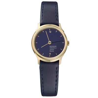 MONDAINE 瑞士國鐵Helvetica海軍藍限量腕錶-霧金框/26mm