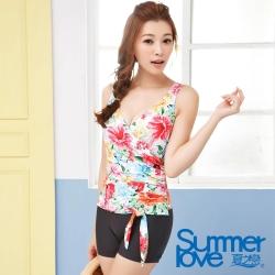 夏之戀SUMMER  南洋花情連身四角泳衣-大尺寸