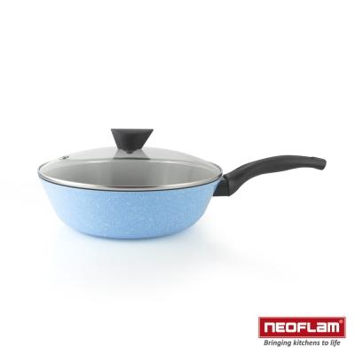 韓國NEOFLAM Reverse 彩色岩礦系列 28cm陶瓷不沾炒鍋+玻璃蓋
