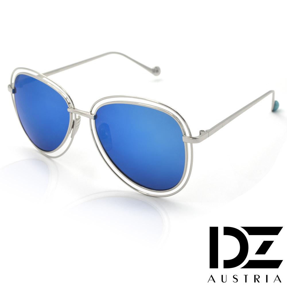 DZ 飾線大框彩球腳 抗UV 太陽眼鏡墨鏡(銀框冰藍膜)