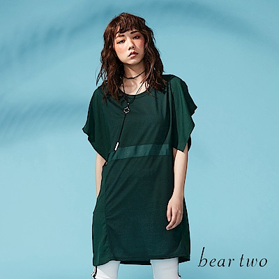 beartwo 網路獨家-飄飄袖身寬版緞面造型上衣(二色)