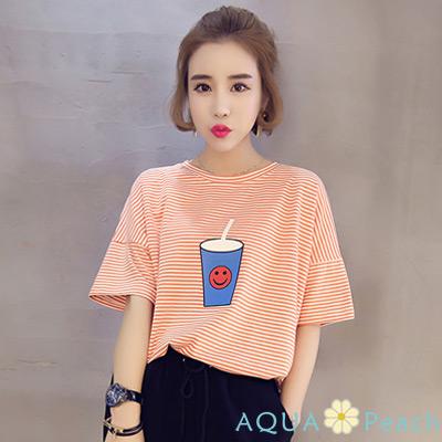 笑臉飲料杯細條紋圓領T (共二色)-AQUA Peach
