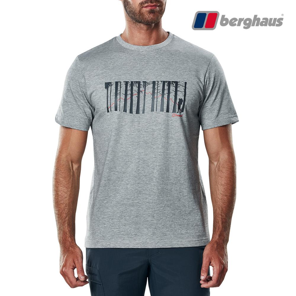 【Berghaus貝豪斯】男款樹林印花圓領T恤S04M16-灰