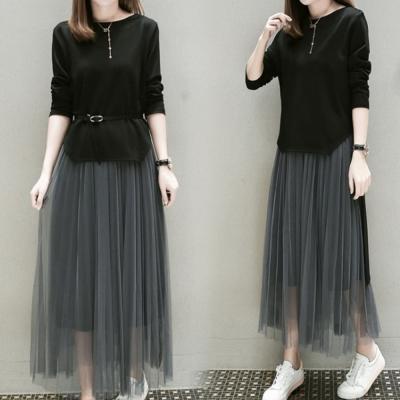 中大尺碼圓領黑色上衣加灰色網紗長裙套裝附腰帶XL~4L-Ballet Dolly