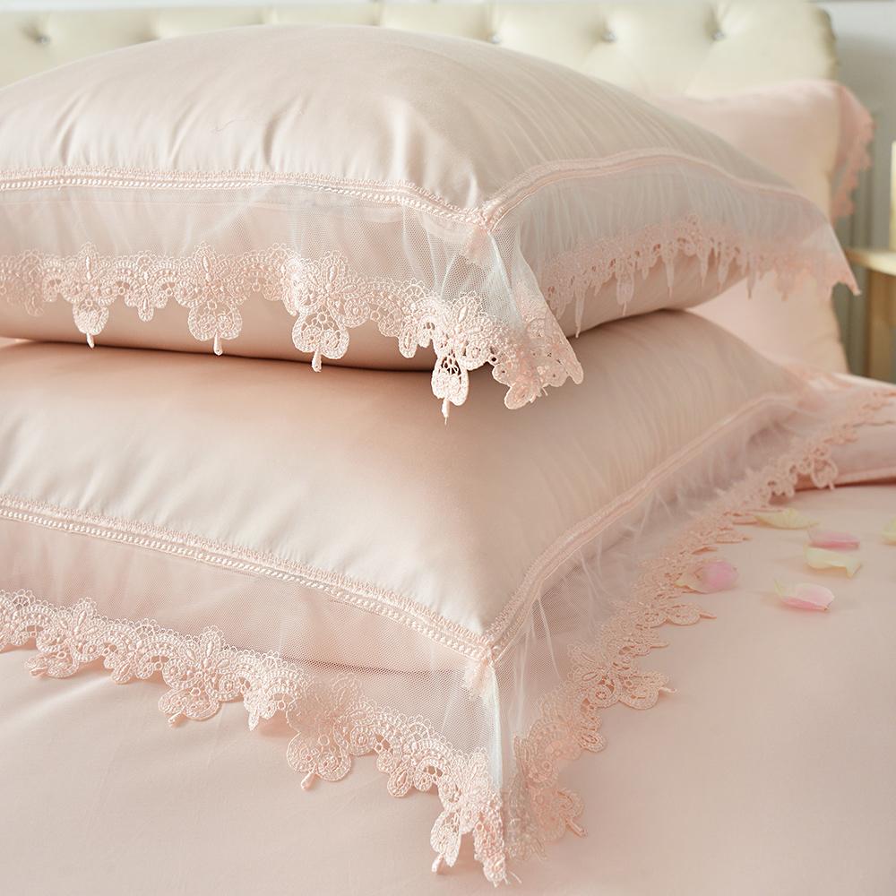 義大利La Belle 艾蜜拉 雙人天絲蕾絲四件式防蹣抗菌舖棉兩用被床包組