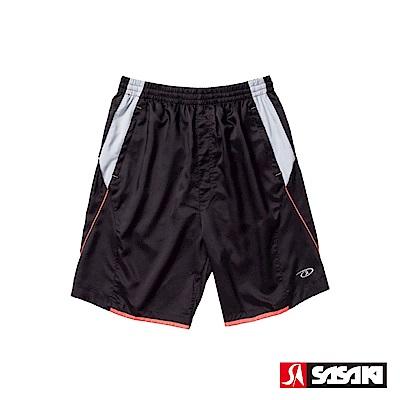 SASAKI 透氣式專業伸縮網球短褲-男-黑/艷桔
