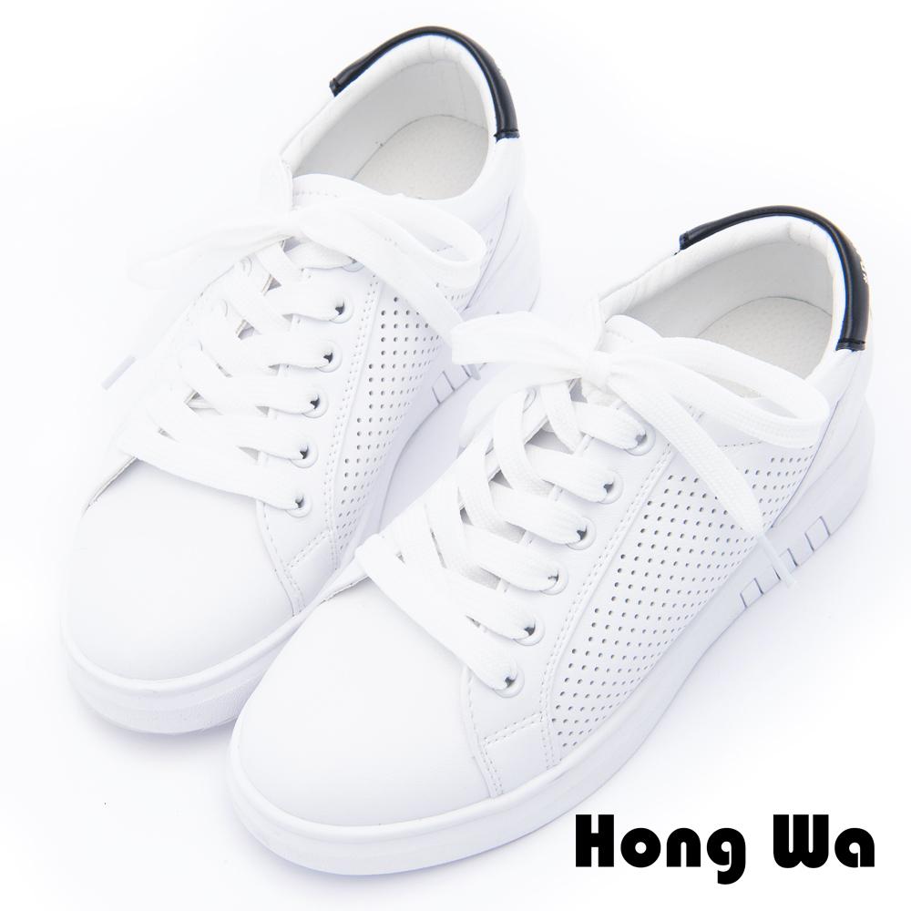 Hong Wa - 潮流時尚塗鴉休閒小白鞋 - 黑白