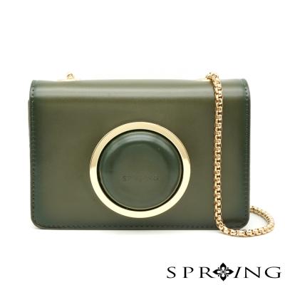 SPRING-Vintage-相機牛皮鏈包-綠
