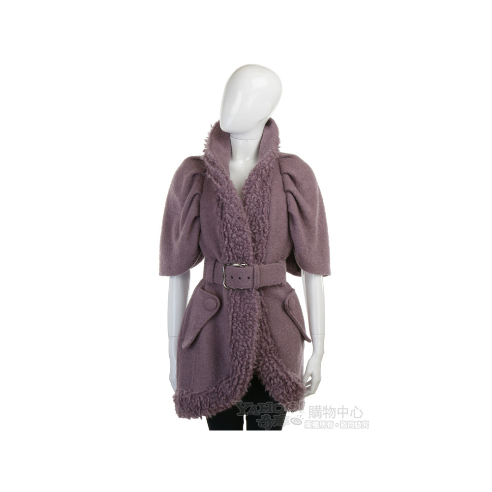 LOVE SEX MONEY 耦紫色毛領飾邊毛質大衣(附腰帶)