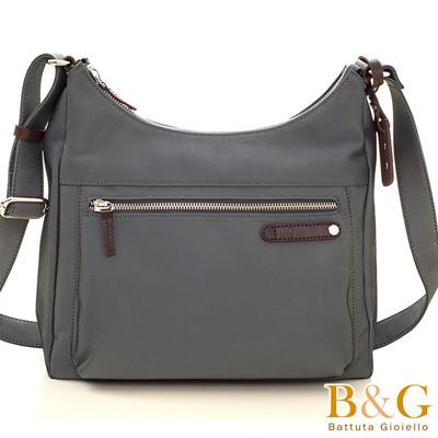 B&G輕時尚悠閒寬底斜肩背包(光澤灰)