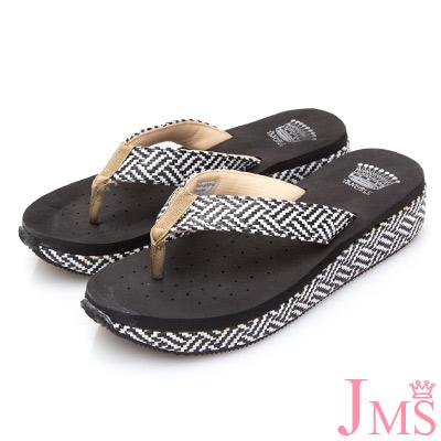 JMS-舒適配色麻繩編織夾腳海灘拖-黑色