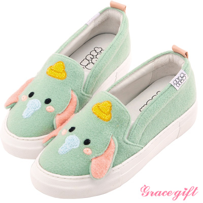 Disney collection by Grace gift立體拼接懶人休閒鞋 綠