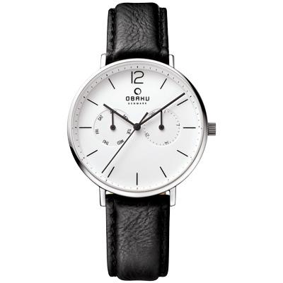 OBAKU  丹麥皇家簡約雙眼時尚腕錶-銀框x皮帶黑/40mm
