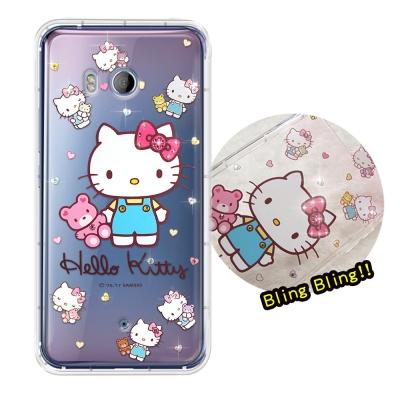 正版凱蒂貓 HTC U11 5.5吋 夢幻童話 彩鑽氣墊手機殼(愛戀小熊)