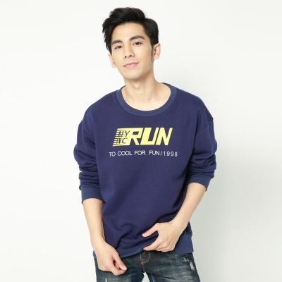 FIVE UP(男)- RUN印花刷毛圓領T-藍