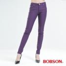 BOBSON 女款彩色.強彈.磨毛小直筒褲-紫色