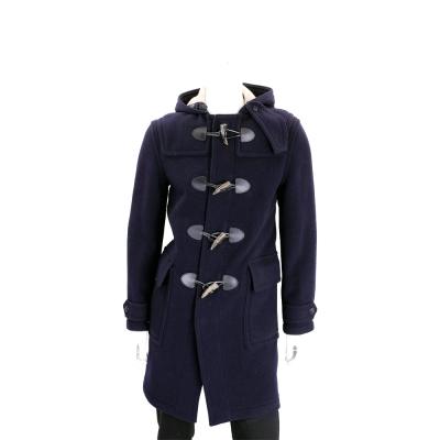 BURBERRY 羊毛混紡連帽牛角扣大衣(男款/深藍色)