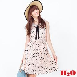 H2O 愛心圓領綁帶洋裝(共三色)
