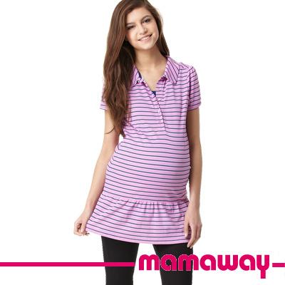 【Mamaway】條紋涼感哺乳長版POLO (共二色)