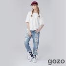 gozo 藝術家補丁刷破牛仔褲(二色)-動態show