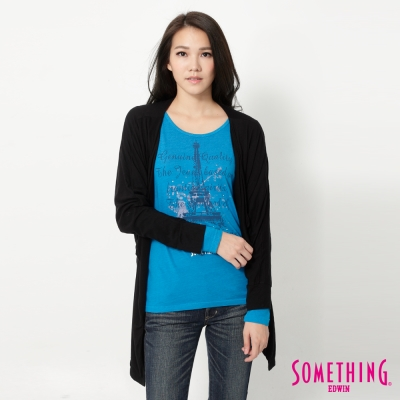 SOMETHING-都會自然垂墜長袖外套-女-黑色