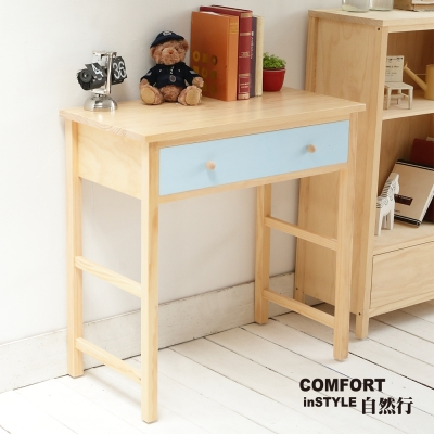 CiS自然行實木家具 書桌-電腦桌-化妝桌-邊桌W80cm(水洗鄉村藍色)