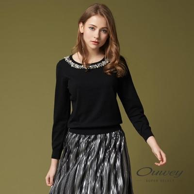 OUWEY歐薇 輕奢簡約珠飾針織上衣(黑)