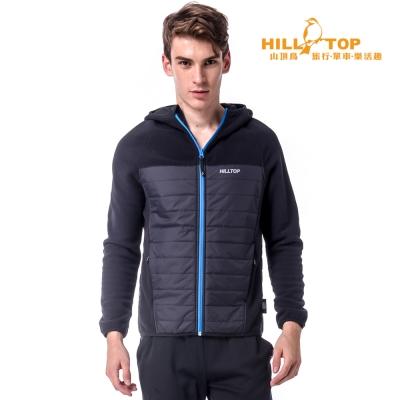 【hilltop山頂鳥】男款吸濕保暖刷毛外套H22MW2黑