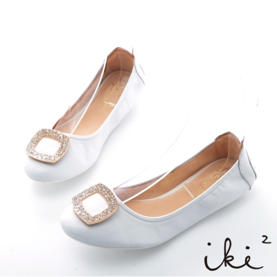 iki2夏日輕旅行-全真皮水鑽方框輕巧豆豆折疊鞋