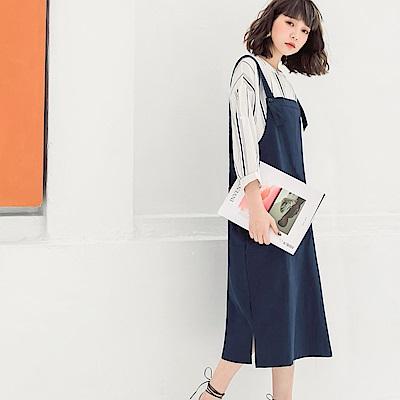 純色高含棉連身吊帶裙-OB大尺碼