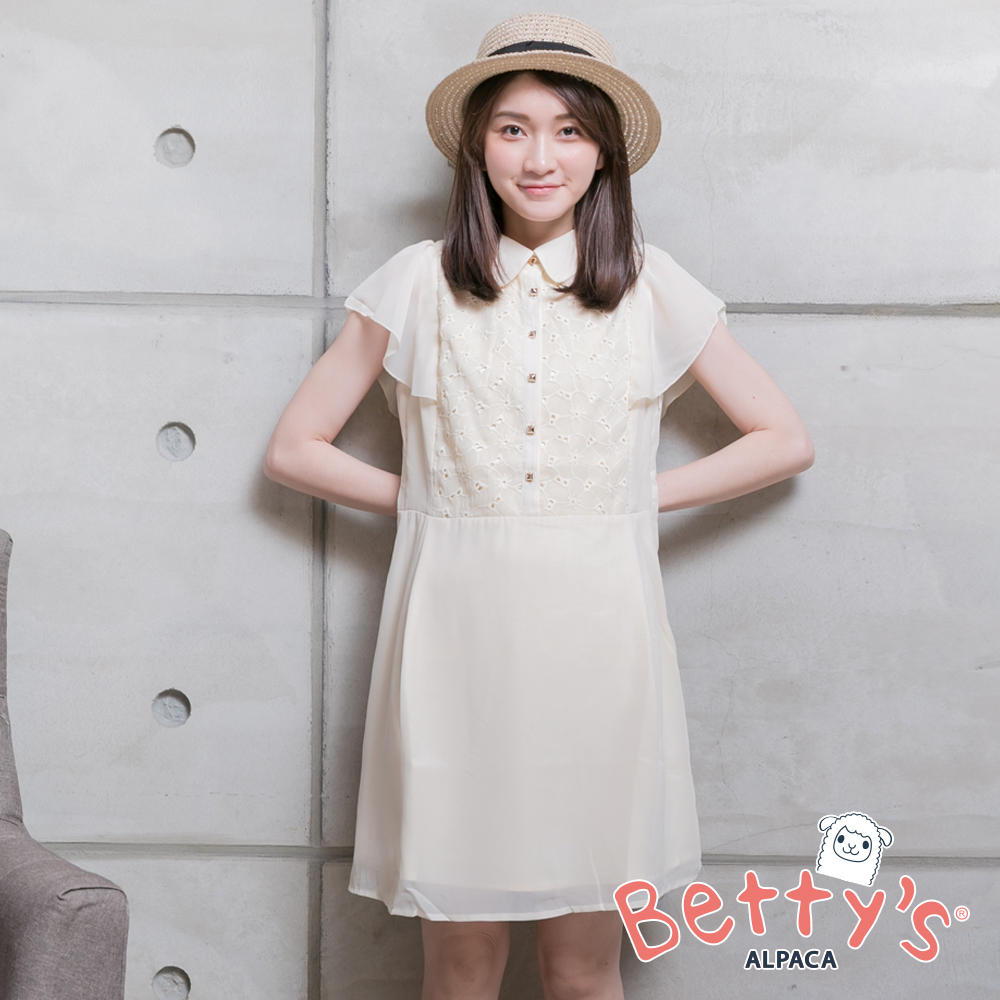 betty's貝蒂思 簡約優雅雪紡洋裝(卡其)