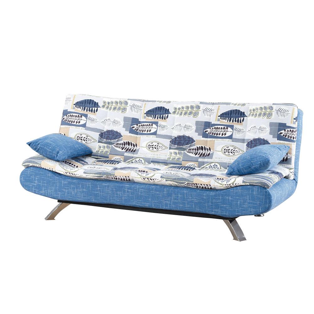 品家居 琳凱藍堤花布展開式沙發床-192x96x82cm-免組