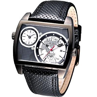 ALBA 超級戰艦大錶徑雙時區腕錶(AR4041X1)-IP黑/46mm