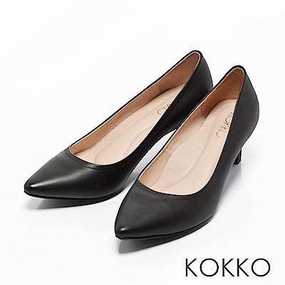 KOKKO -亮麗通勤尖頭全真皮高跟鞋-經典黑