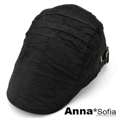 AnnaSofia 線層多拼接 純棉鴨舌帽小偷帽(酷黑系)