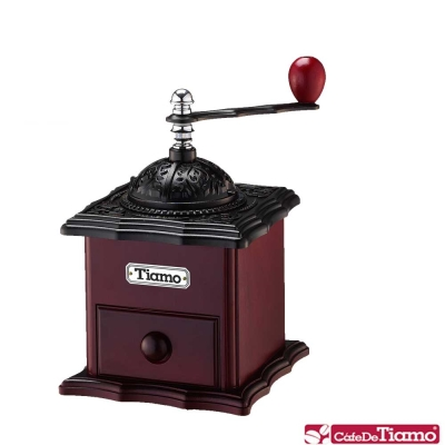 Tiamo 新型鑄鐵手搖磨豆機【屋頂蓋】-二色(HG6128)