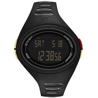 adidas 橢圓百搭數位電子腕錶-黑x金扣/48mm